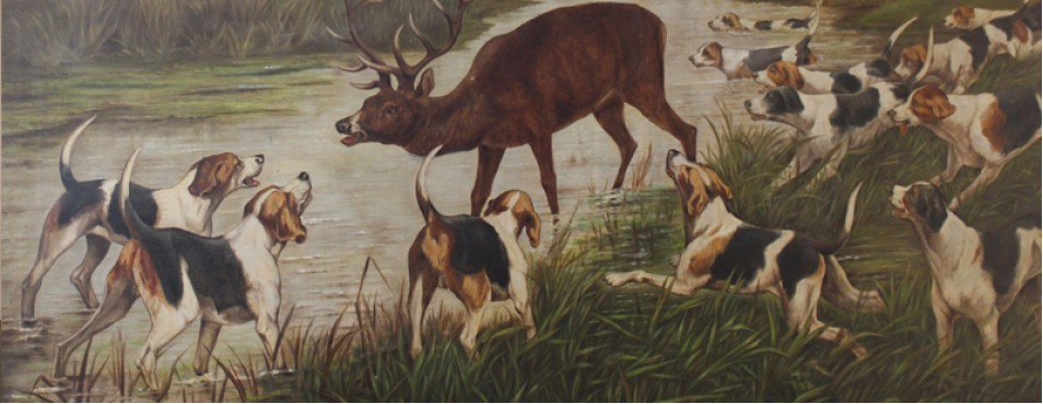Large Hunting Picture Oil on Canvas