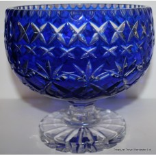 Blue Cut Glass Overlay Crystal Footed Bowl