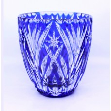 Blue Overlay Crystal Ice Bucket