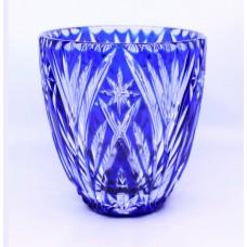 Blue Overlay Crystal Ice Bucket