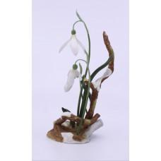 Boehm Porcelain & Painted Bronze Flower Snowdrops
