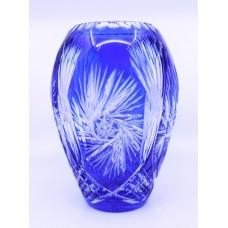 Bohemian Blue Overlay Crystal Ovoid Form Vase