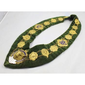Brass & Enamel Velvet Lodge Chain Masonic Regalia