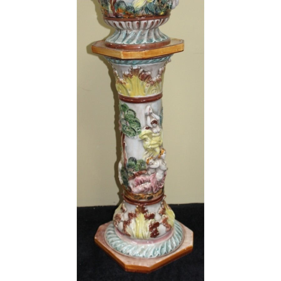 Capodimonte Ceramic Italian Jardiniere On Pedestal