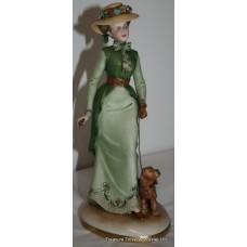 Capodimonte Figure Lady Walking Dog