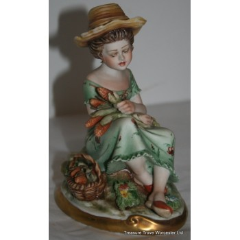 Capodimonte Girl Picking Sweetcorn Figurine