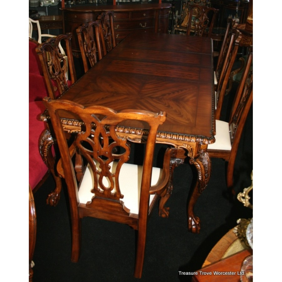 Outstanding Carved Mahogany Ball Claw Dining Suite 9Ft Table Chairs Machost Co Dining Chair Design Ideas Machostcouk