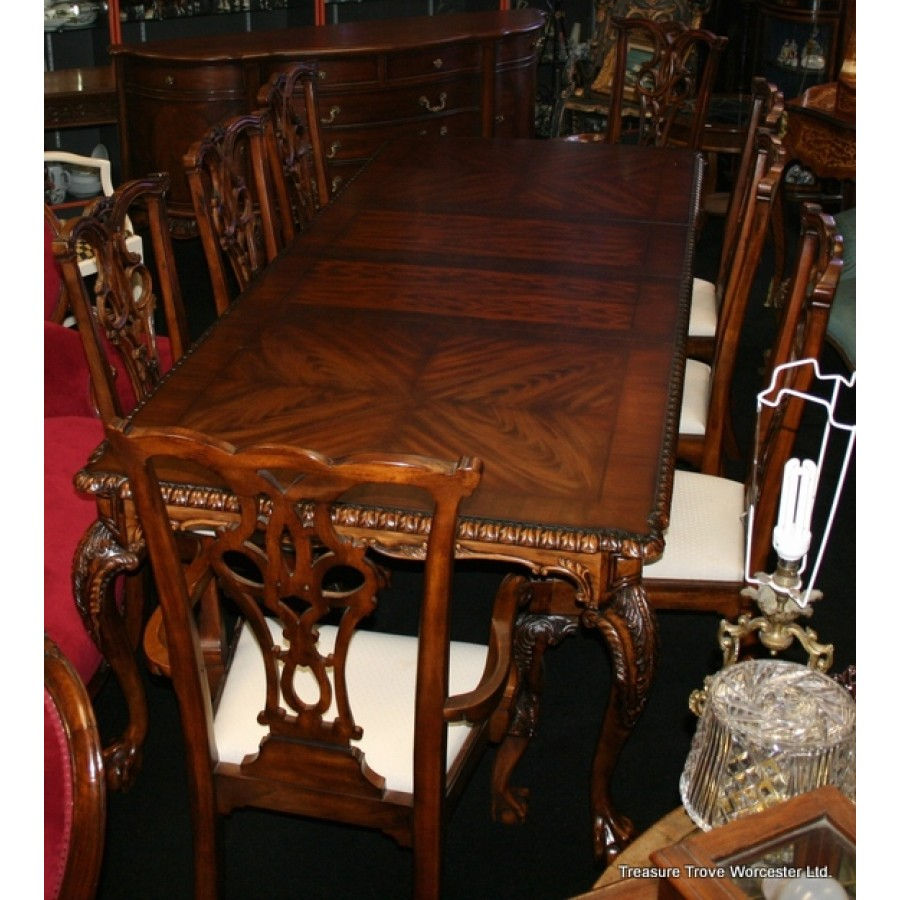 Superb Carved Mahogany Ball Claw Dining Suite 9Ft Table Chairs Machost Co Dining Chair Design Ideas Machostcouk