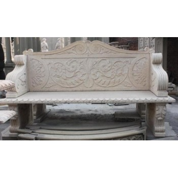 Carved Egypt Beige Stone Classical Style Garden Bench