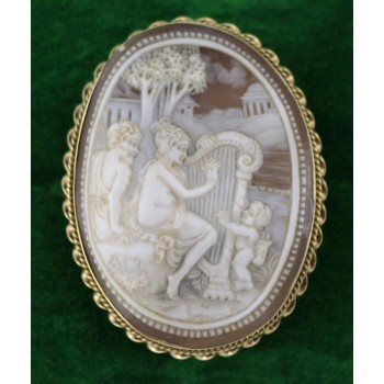 Carved Cameo Relief Gold Set Brooch