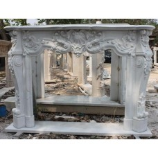 Carved French Style Hunan Marble Fire Surround