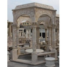 Fine Carved Golden Travertine Stone Column Garden Temple