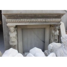 Lovely Quality Classical Figural Carved Granite Fire Surround