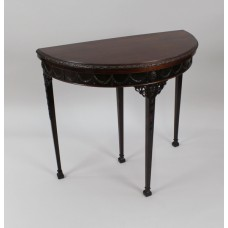 Carved Mahogany Edwardian Adam Style Flip Top Card Table