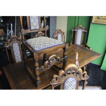 Carved Oak Refectory Table & 8 Dining Chairs