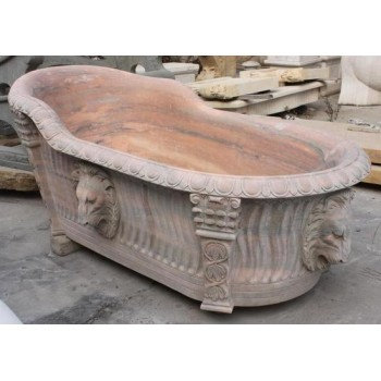 Carved Pink Stone Roman Style Bath