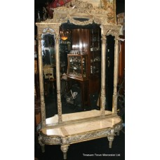 Carved Wood 8ft Ornate Mirror on Low Marble Topped Console Table