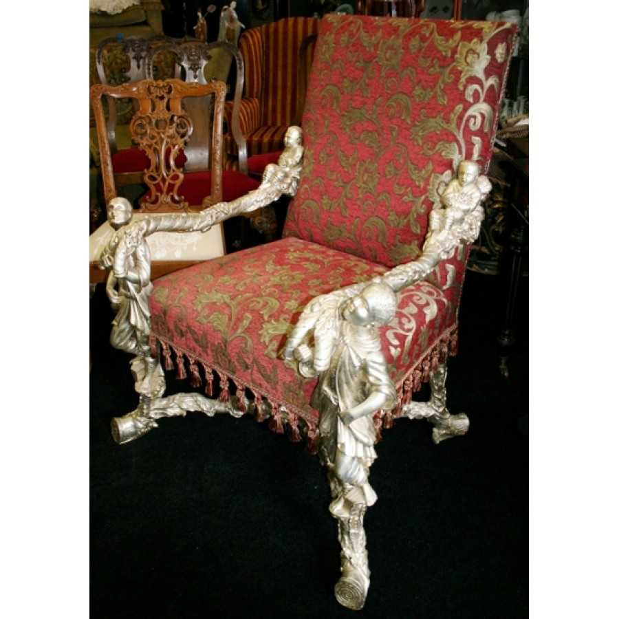 Ornate Carved Wood Silver Leaf Throne Chair