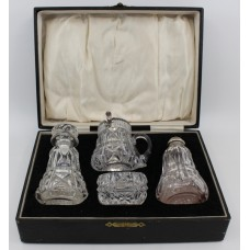 Cased John Walsh Crystal & Silver Cruet Set 1925