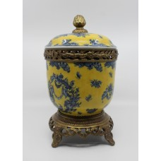 Chinese Ceramic & Brass Lidded Urn on Stand