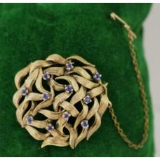 Circular Openwork Sapphire Set 14ct Gold Brooch