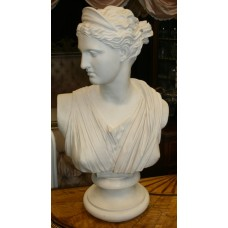 Classical Style Heavy Composite Marble Bust of Diana