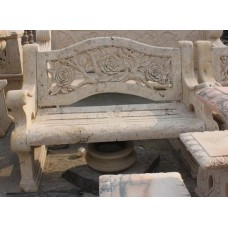 Carved Golden Travertine Stone Period Style Garden Bench