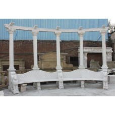 Classical Style Marble Column Curved Bench Seat