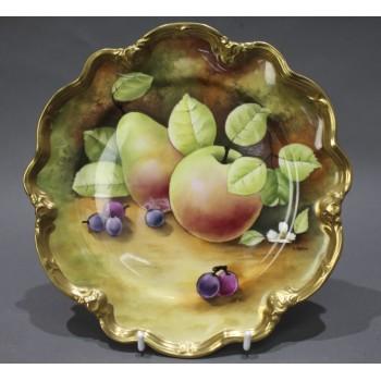 Coalport Hand Painted Fruit Cabinet Plate by Gidman