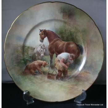 Coalport Hand Painted Changing Horseshoe Plate by Richard Budd