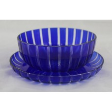 Cobalt Blue Cut Glass Overlay Crystal Bowl on Stand