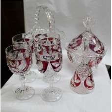 Collection of Vintage Coloured Decorative Crystal