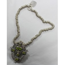 Contemporary Heavy Sterling Silver Peridot Set Necklace