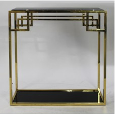 Contemporary Marble Topped Brass Side Table