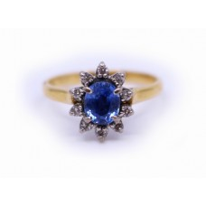 Cornflower Blue Sapphire & Diamond Cluster Ring