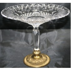 Cut Glass Crystal & Brass Comport