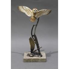 David Fryer Studios Porcelain & Bronze Owl