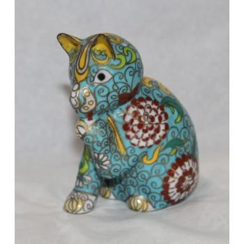 Decorative Brass Cloisonné Enamel Cat