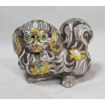 Decorative Brass Cloisonné Enamel Pekingese Dog