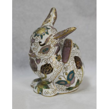 Decorative Brass Cloisonné Enamel Rabbit