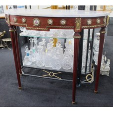 Decorative Marble Topped Side Table with Porcelain Panels