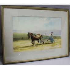 Horse Farming Landscape Watercolour by Derek Williams RBSA