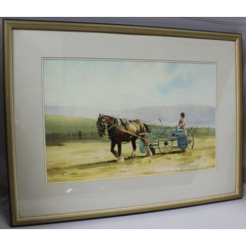 Horse Farming Landscape Watercolour by Derek Williams RBSA
