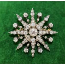 Diamond 19th c. Eight Pointed Star Brooch 2.46 carat