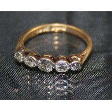 Diamond Five Stone 18ct Yellow Gold & Platinum Ring