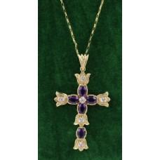 Diamond & Amethyst Gold Cross on Chain