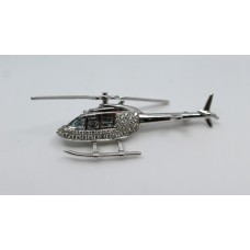 Diamond & Aquamarine 18ct White Gold Helicopter Brooch
