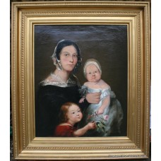 Early 19th c. Family Portrait Painting Oil on Canvas