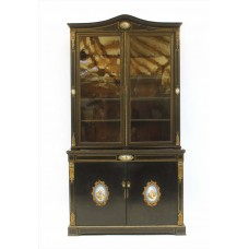 Early 19th c. French Lacquered Bookcase with Sevres Plaques