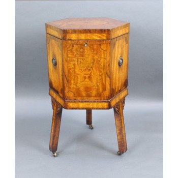 Fine Early 19th c. Inlaid Sheraton Wine Cooler Cellaret